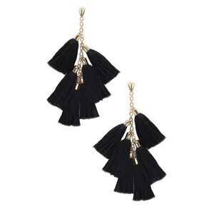 Ettika Daydreamer Tassel Earrings in Black/Gold